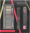 Active Cosmetics Instant Glamour Kit Gift Set 6.5ml Mascara + 8 x 1.5g Eyeshadow + 3.3g Lip Crayon + Double Ended Applicator