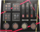 Active Cosmetics Colour Masterclass Set 4 x 10.24g Quad Eyeshadow + 2 x 3.58g Blusher + 1.79g Bronzer + 1.79g Highlighter + 3 x 7.8g Lip Crayon + 6.8ml Black Mascara + 2 x Double End Applicators