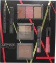 Active Cosmetics Glamour To Go Gift Set Eye Liner Pencil + 6.5ml Mascara + 4 x 2.5g Eye Shadows + 10g Bronzer + 2 x 6g Blusher + 6g Highlighter + 10.5ml Lip Gloss + 3.3g Lip Crayon + Applicator